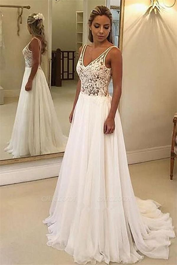 Charming V-Neck Sleeveless Appliques A-Line Floor-Length Prom Dresses