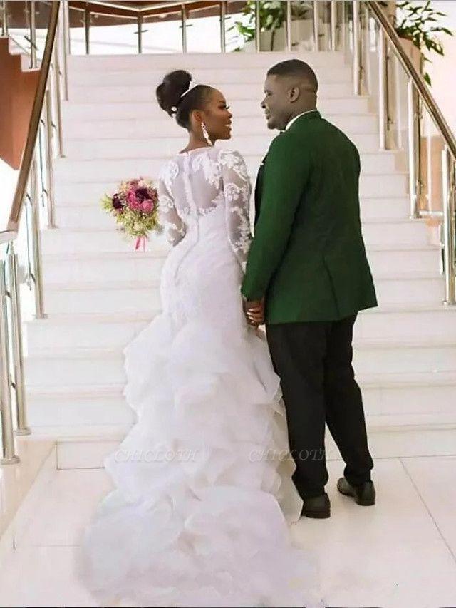 Mermaid \ Trumpet Wedding Dresses Jewel Neck Court Train Lace Organza Tulle Long Sleeve Romantic Plus Size Illusion Sleeve