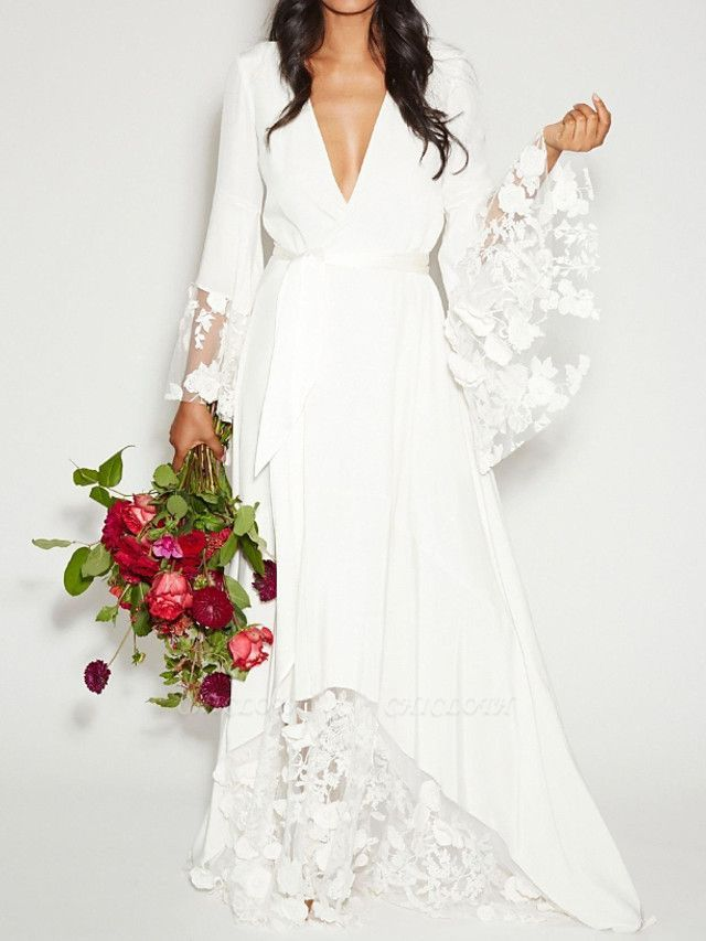 A-Line Plunging Neck Sweep \ Brush Train Polyester Long Sleeve Casual Plus Size Wedding Dresses