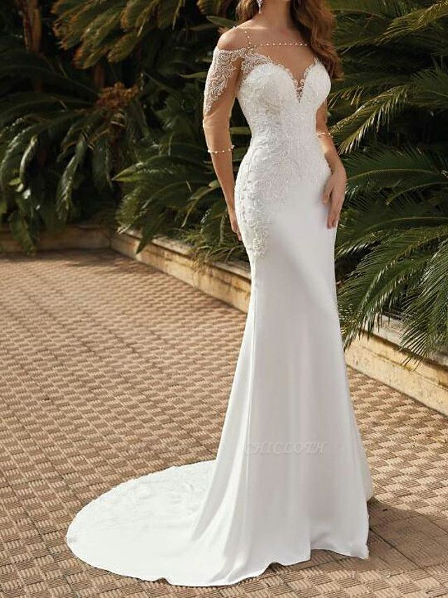 Mermaid \ Trumpet Wedding Dresses Square Neck Sweep \ Brush Train Lace Satin Tulle Half Sleeve Sexy See-Through