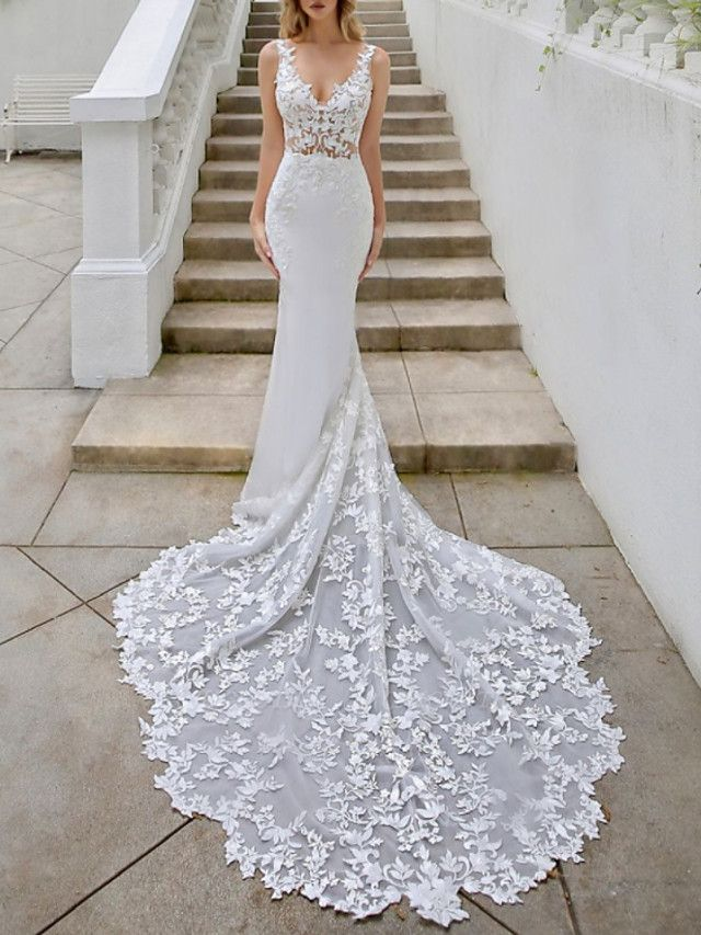 A-Line V Neck Sweep \ Brush Train Lace Georgette Sleeveless Sexy Backless Wedding Dresses