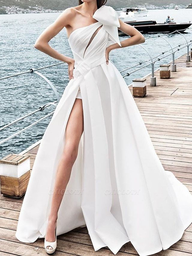 A-Line Wedding Dresses One Shoulder Sweep \ Brush Train Satin Sleeveless Sexy