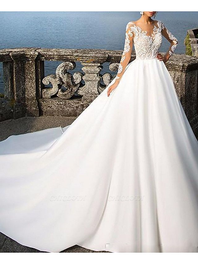 A-Line Wedding Dresses V Neck Sweep \ Brush Train Satin Long Sleeve Formal Plus Size Illusion Sleeve