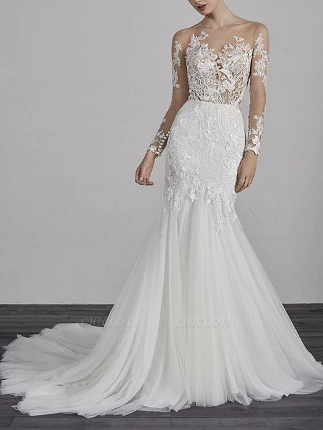 Mermaid \ Trumpet Wedding Dresses Jewel Neck Court Train Lace Tulle Long Sleeve Boho Illusion Sleeve
