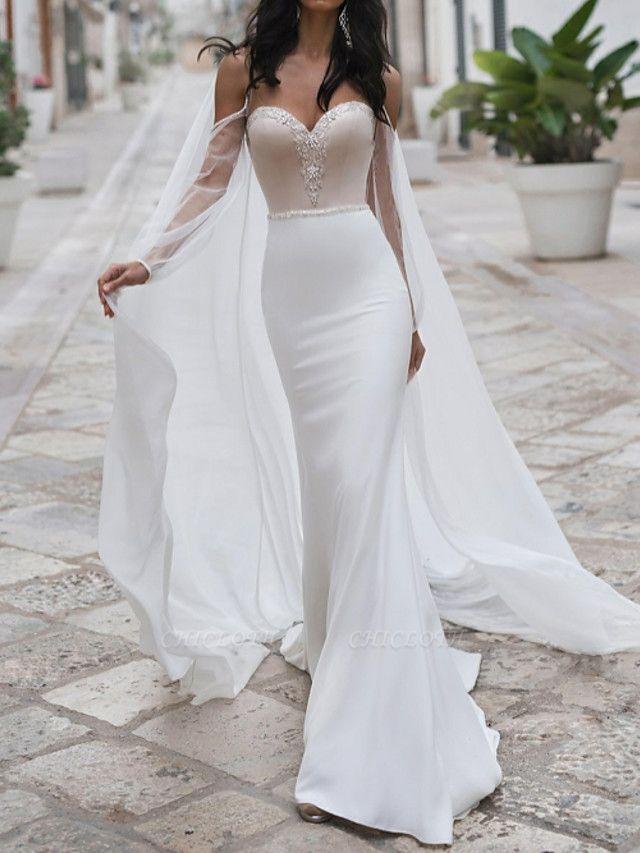 Mermaid \ Trumpet Wedding Dresses Sweetheart Neckline Sweep \ Brush Train Polyester Long Sleeve Romantic See-Through Illusion Detail Backless