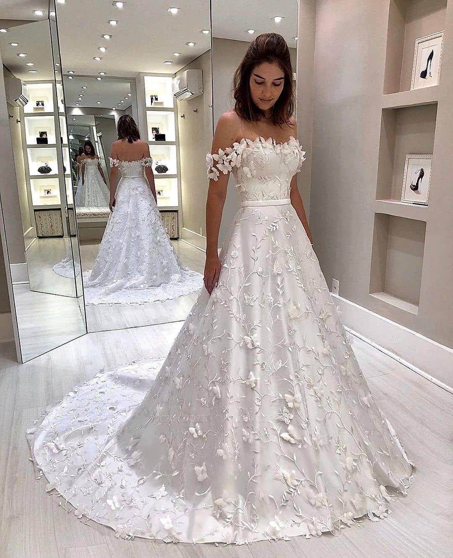 Chicloth Off-the-shoulder Floral Appliqued A-line Wedding Dress