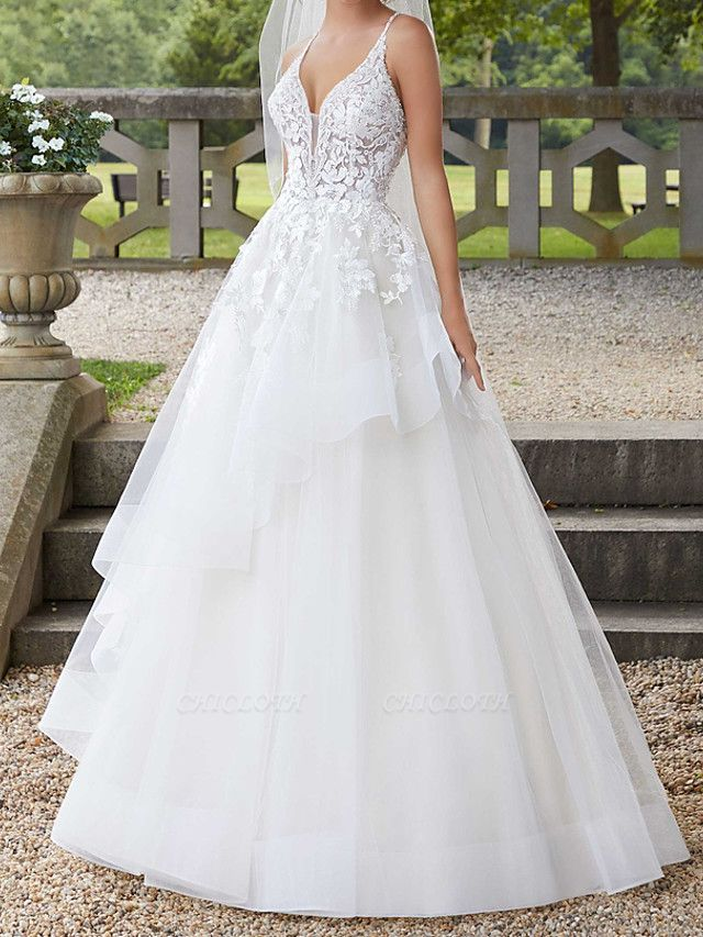 A-Line Spaghetti Strap Court Train Polyester Sleeveless Country Plus Size Wedding Dresses