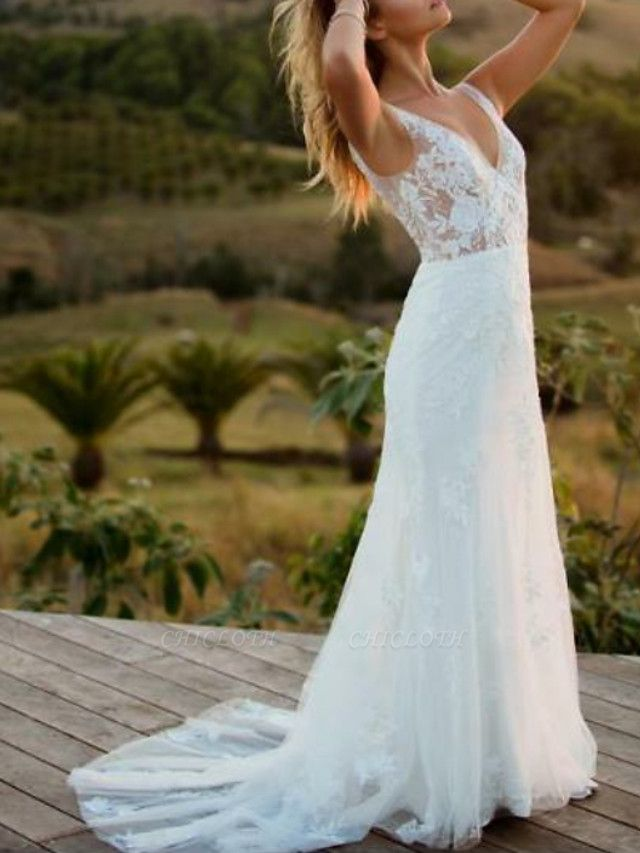 A-Line Wedding Dresses V Neck Sweep \ Brush Train Lace Regular Straps