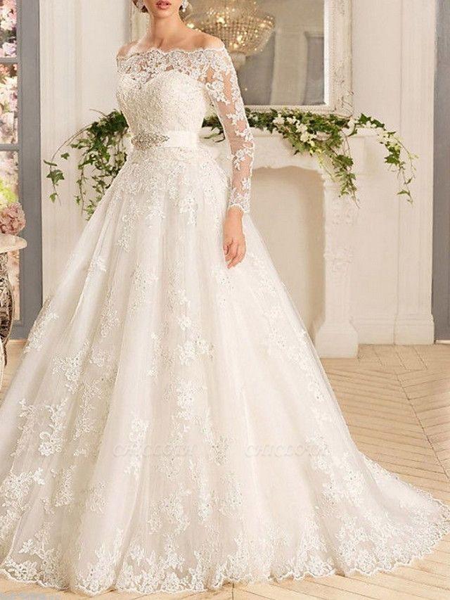 A-Line Wedding Dresses Off Shoulder Sweep \ Brush Train Tulle Regular Straps Illusion Sleeve