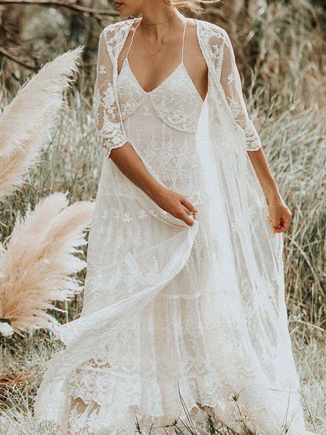 Two Piece A-Line Wedding Dresses Spaghetti Strap Sweep \ Brush Train Lace Sleeveless Boho