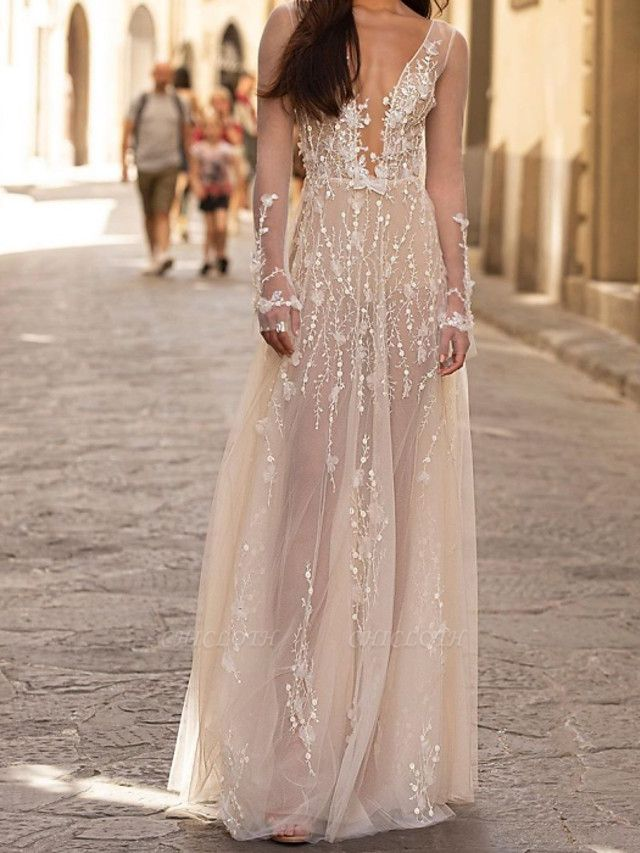 A-Line Wedding Dresses Scoop Neck Floor Length Lace Tulle Long Sleeve Beach Sexy See-Through