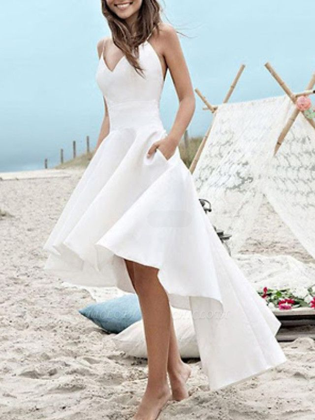 A-Line Wedding Dresses V Neck Spaghetti Strap Asymmetrical Satin Sleeveless Simple Little White Dress 1950s