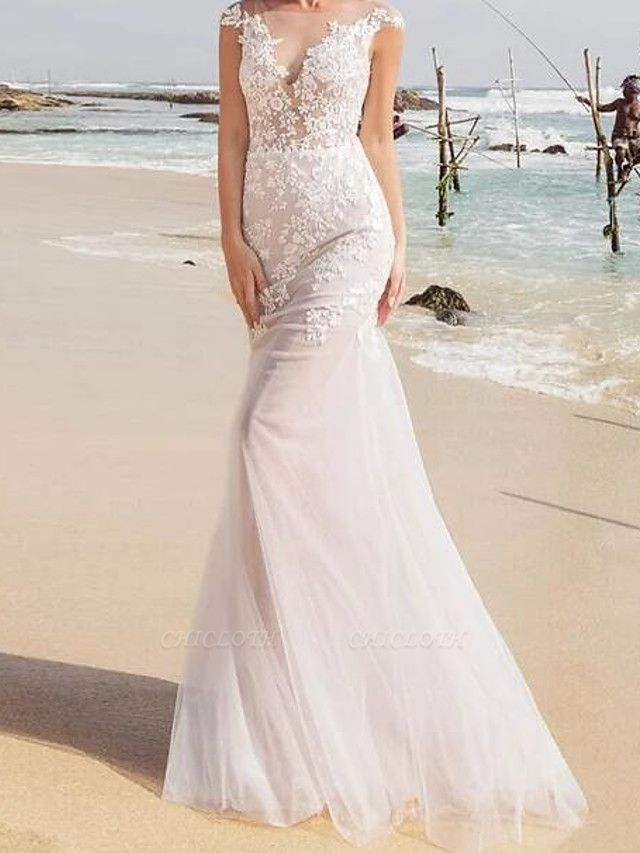 Mermaid \ Trumpet Wedding Dresses Jewel Neck Sweep \ Brush Train Lace Tulle Sleeveless Sexy See-Through
