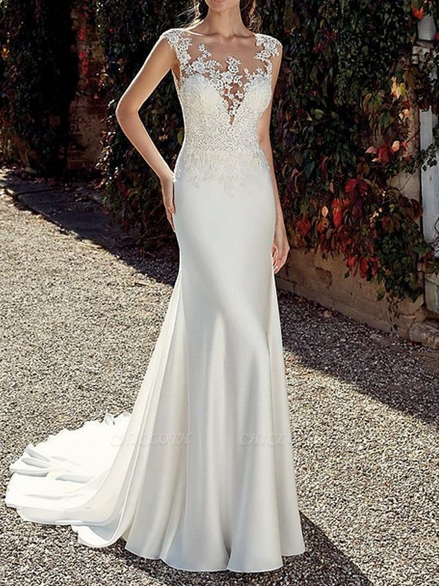 Mermaid \ Trumpet Wedding Dresses Jewel Neck Sweep \ Brush Train Chiffon Cap Sleeve Illusion Detail Backless