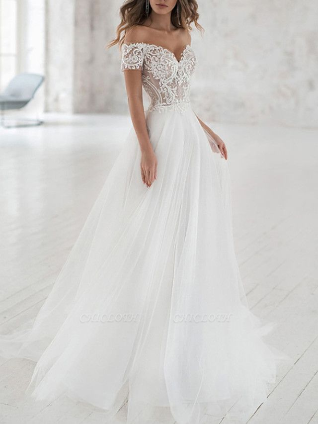 A-Line Wedding Dresses Off Shoulder Sweep \ Brush Train Lace Tulle Short Sleeve Beach Boho Sexy See-Through