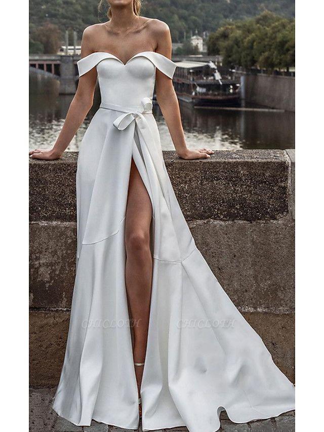 A-Line Off Shoulder Sweep \ Brush Train Satin Short Sleeve Formal Wedding Dress in Color Wedding Dresses