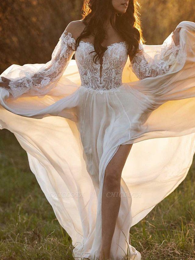 A-Line Wedding Dresses Off Shoulder Court Train Lace Satin Long Sleeve