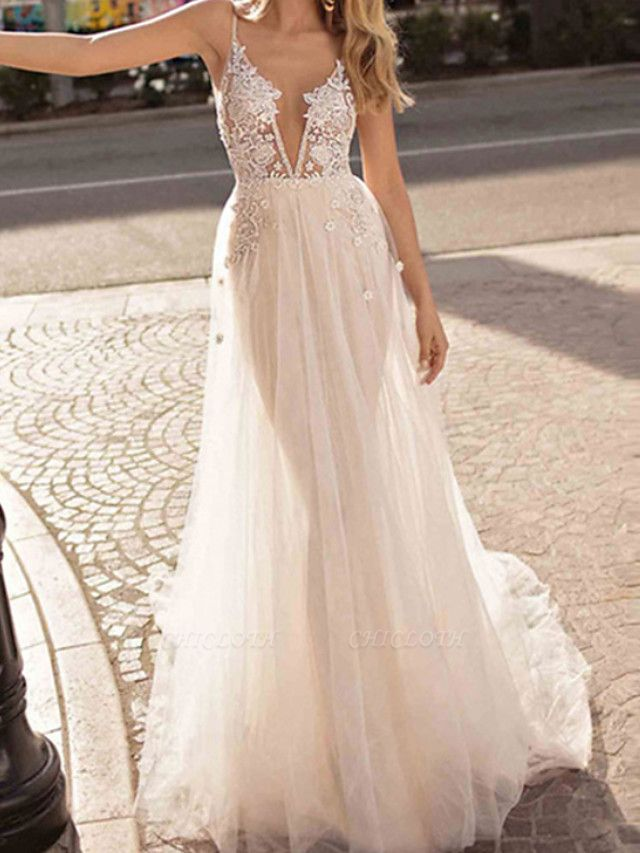 A-Line Wedding Dresses V Neck Court Train Chiffon Tulle Sleeveless Beach Sexy See-Through