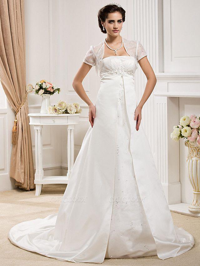 Princess A-Line Wedding Dresses Strapless Court Train Organza Satin Sleeveless