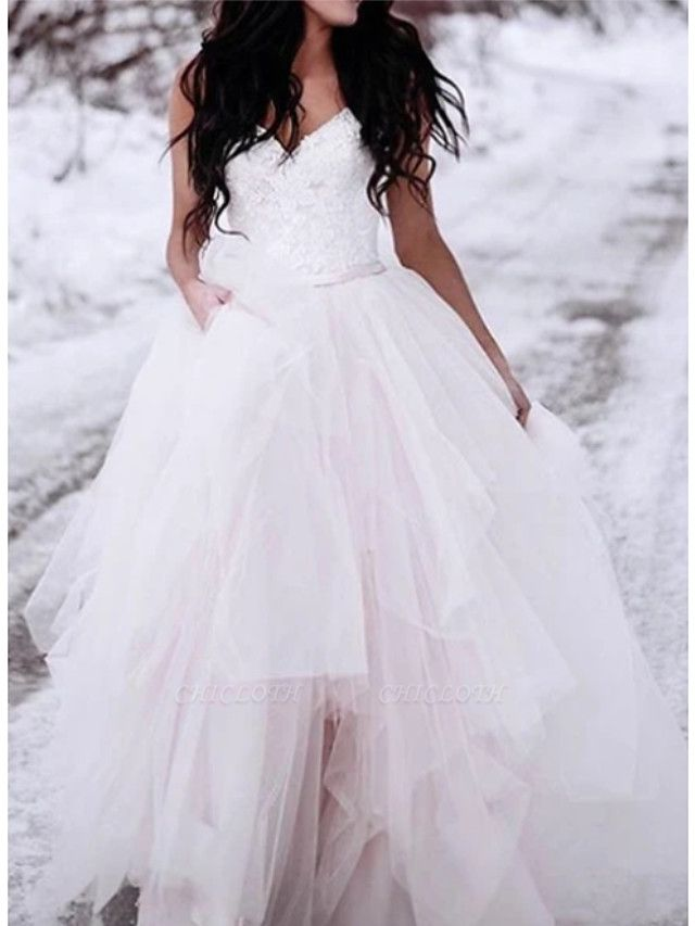 A-Line V Neck Floor Length Lace Tulle Spaghetti Strap Romantic Plus Size Wedding Dresses