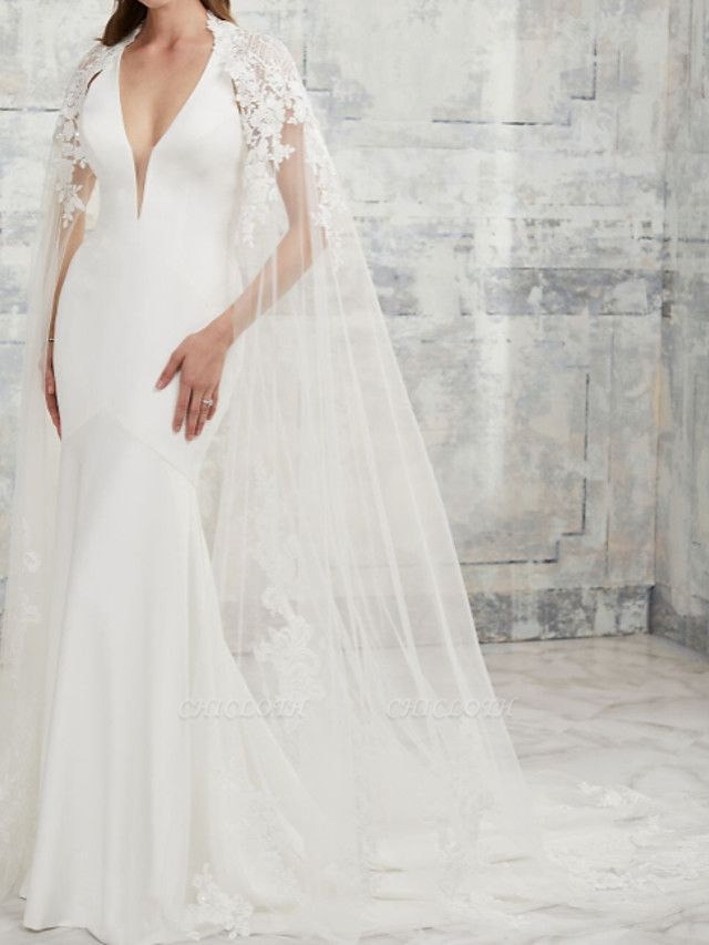 Two Piece Mermaid \ Trumpet Wedding Dresses V Neck Court Train Lace Stretch Satin Short Sleeve Simple Sexy Backless Cape