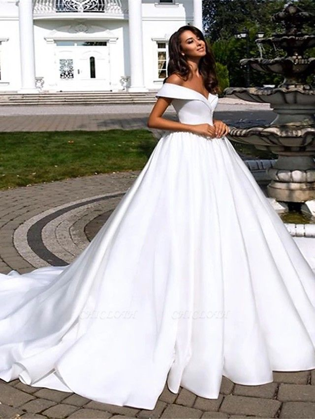Ball Gown A-Line Wedding Dresses Off Shoulder Cathedral Train Polyester Short Sleeve