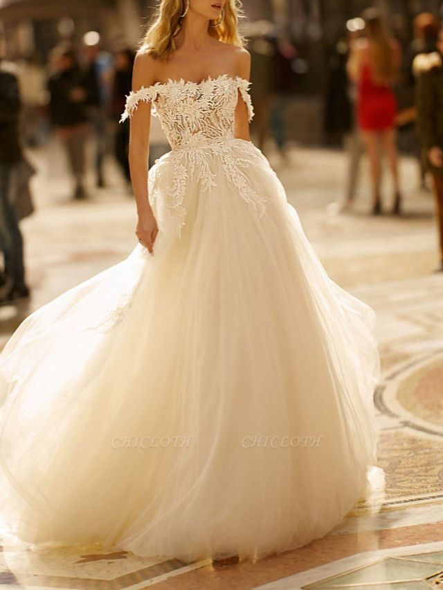 A-Line Wedding Dresses Off Shoulder Sweep \ Brush Train Lace Tulle Short Sleeve Romantic Illusion Detail