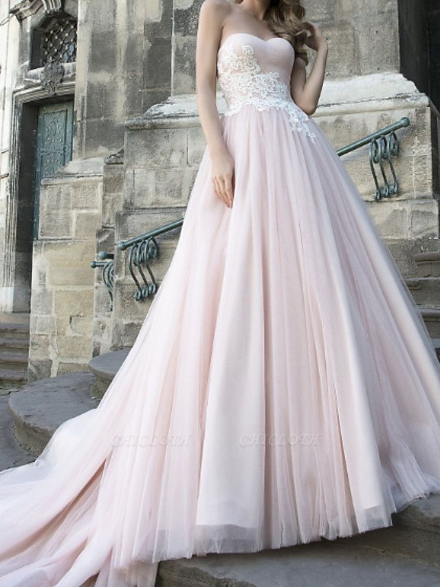 A-Line Wedding Dresses Strapless Sweep \ Brush Train Lace Taffeta Tulle Sleeveless Country Plus Size
