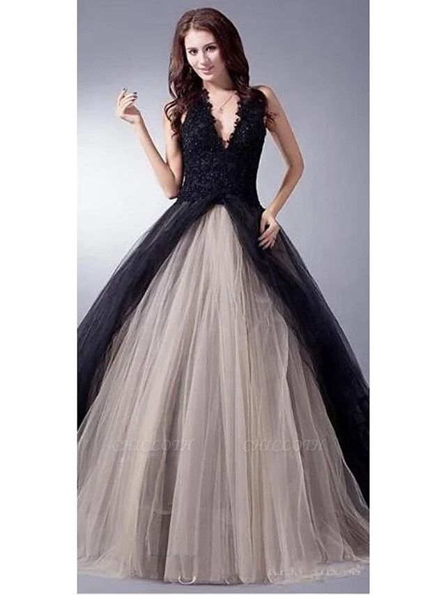 Ball Gown Wedding Dresses V Neck Sweep \ Brush Train Lace Tulle Regular Straps Sexy Plus Size Black Modern