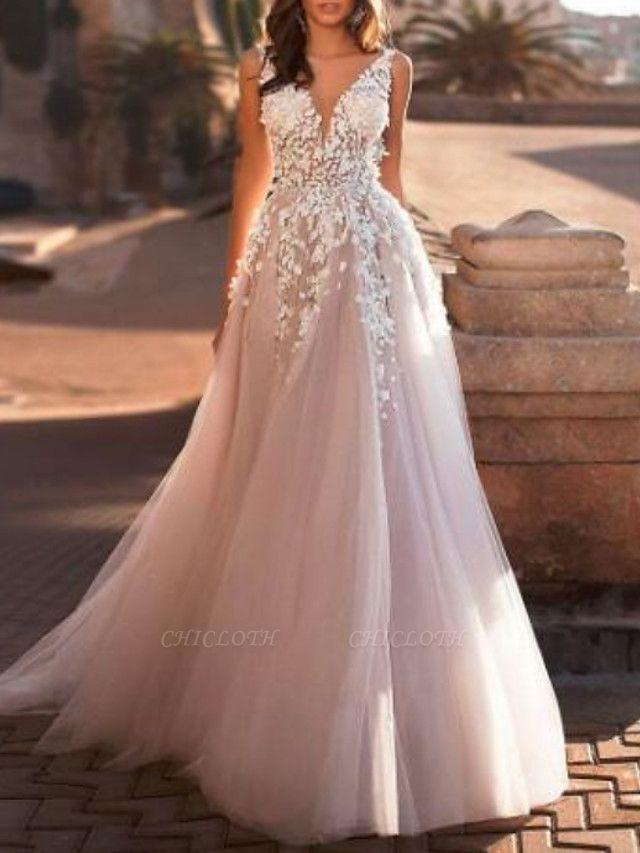 A-Line Wedding Dresses V Neck Sweep \ Brush Train Lace Tulle Regular Straps Mordern See-Through
