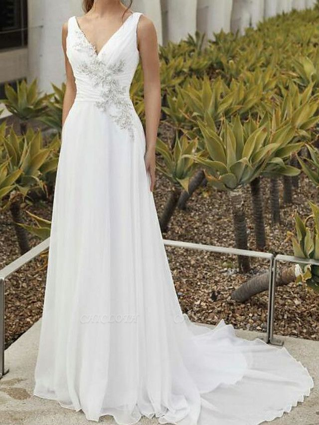 A-Line Wedding Dresses V Neck Sweep \ Brush Train Chiffon Sleeveless Romantic