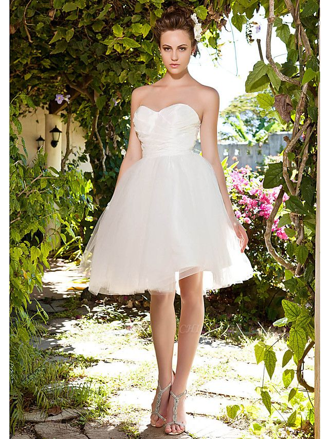Ball Gown Wedding Dresses Sweetheart Neckline Knee Length Taffeta Tulle Strapless See-Through