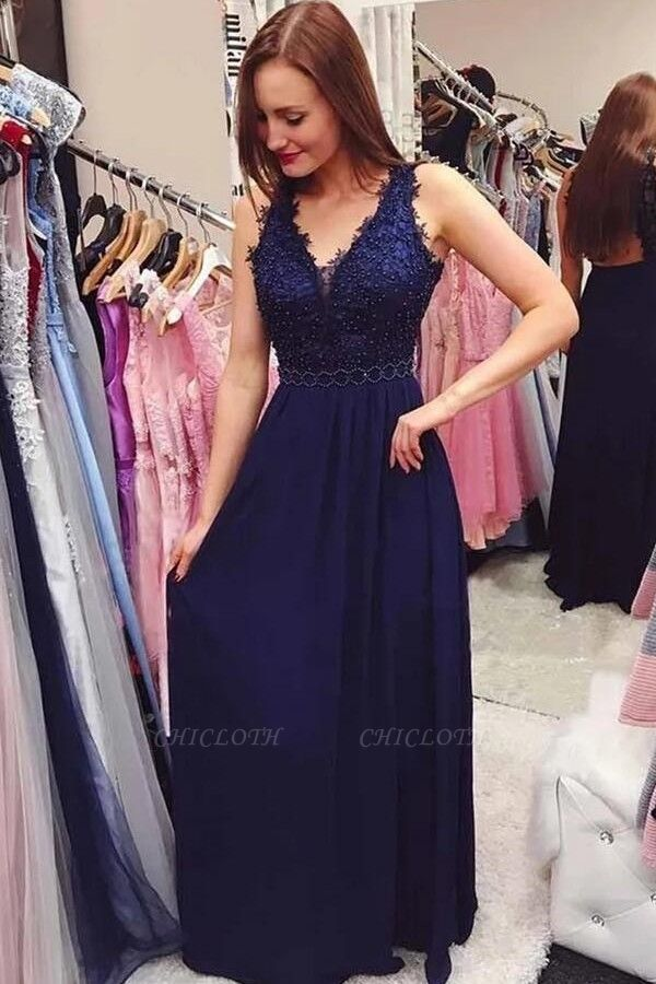ZY226 Evening Dress Plain With Lace Floor-Length Evening Wear