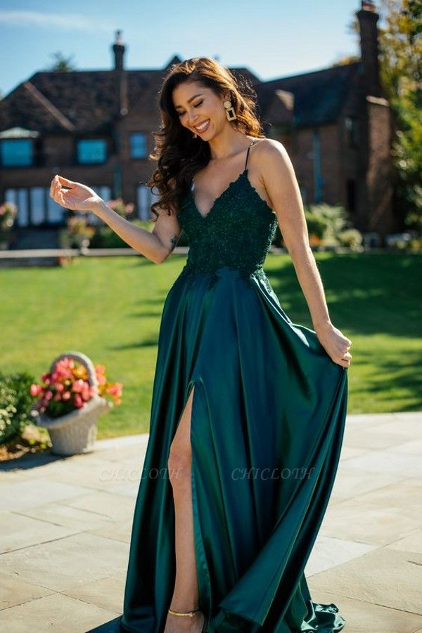 ZY215 Simple Evening Dresses Green Prom Dresses Long Cheap