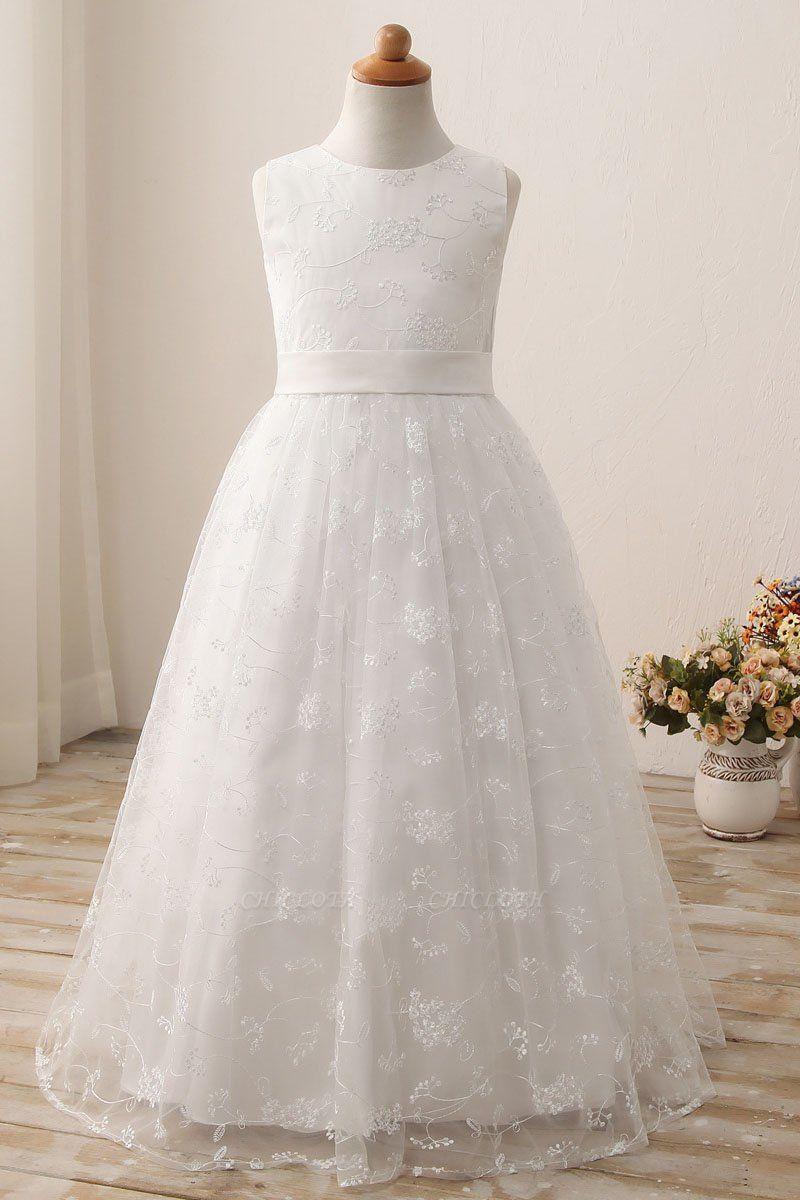 White Scoop Neck Short Sleeveless Ball Gown Flower Girls Dress