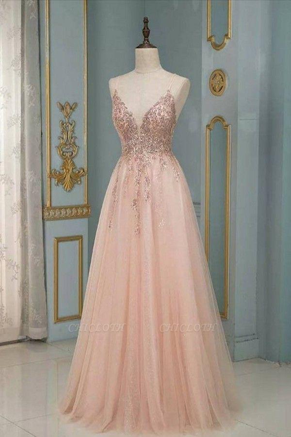 ZY193 Evening Dresses Long With Glitter Evening Dress V Neckline Online