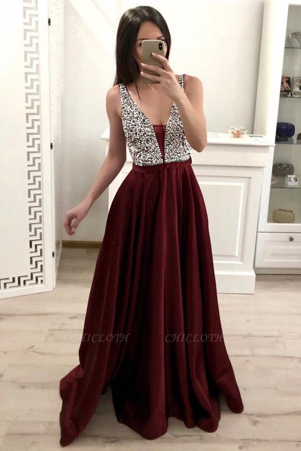 ZY171 Designer Evening Dresses Wine Red Evening Wear Prom Dress V Neckline