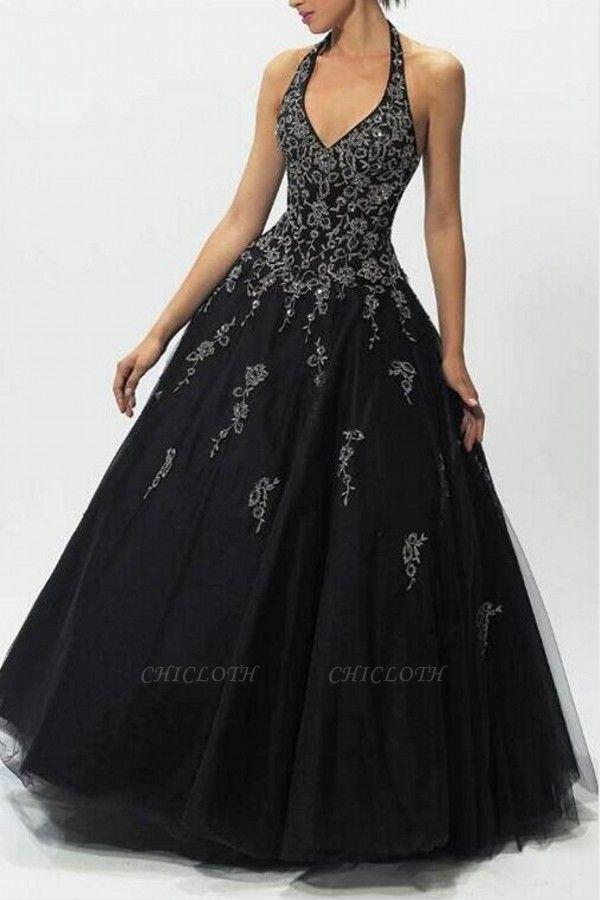 ZY152 Evening Dresses Long V Neckline Black Prom Dresses