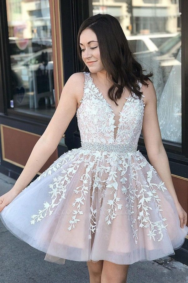 ZY197 Beautiful Evening Dresses V Neckline Cocktail Dresses Short With Lace
