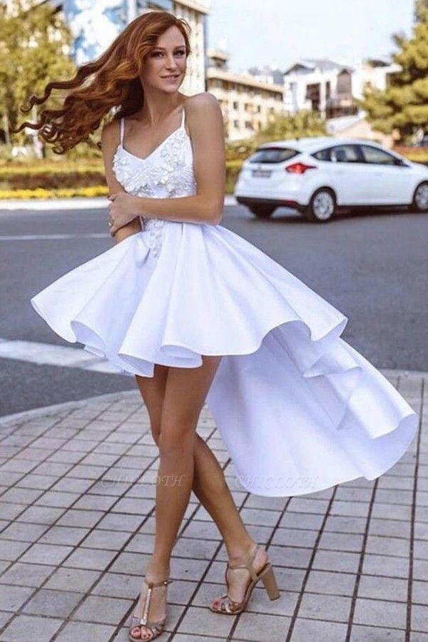 ZY210 Cocktail Dresses Short Front Long Back White Evening Dress Plain