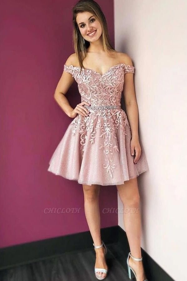 ZY205 Beautiful Evening Dress Short Pink Cocktail Dresses With Lace