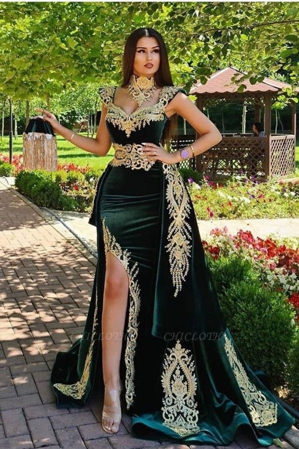 ZY174 Evening Dresses Long Green Evening Wear Prom Dress With Lace
