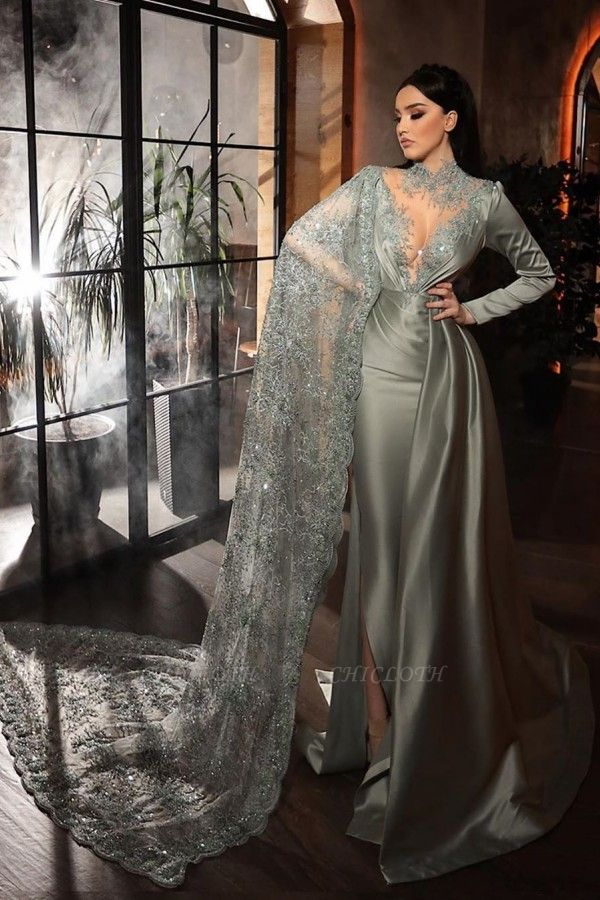 ZY188 Silver Evening Dresses With Lace Beautiful Prom Dresses Long Sleeves