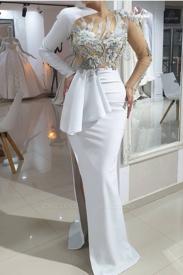 ZY173 Evening Dresses Long White Prom Dresses With Sleeves Online