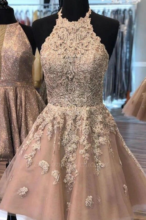 ZY200 Champagne Cocktail Dresses Short Elegant Party Dresses With Lace