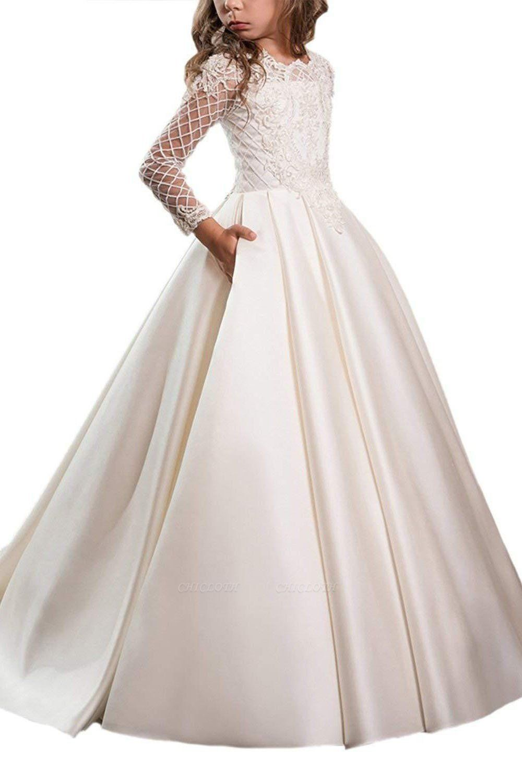 White Scoop Neck Long Sleeves Ball Gown Flower Girls Dress