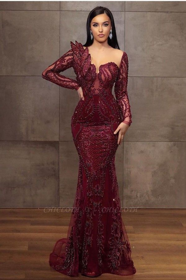 ZY199 Wine Red Evening Dresses Long Glitter Prom Dresses With Lace Sleeves