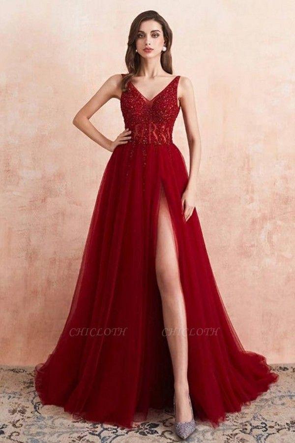 ZY176 Elegant Evening Dresses V Neckline Prom Dresses Long Red Online