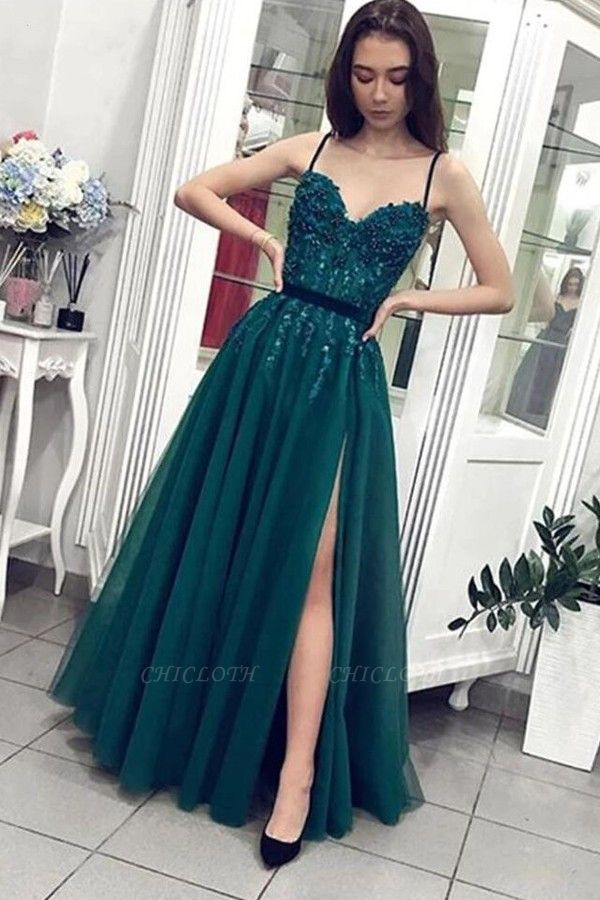 ZY206 Designer Evening Dresses Long Green Evening Wear With Lace