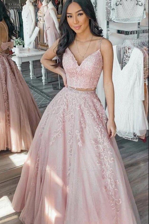 ZY222 Designer Evening Dresses Long Pink Lace Prom Dresses